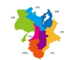 関西の名前入り地図
