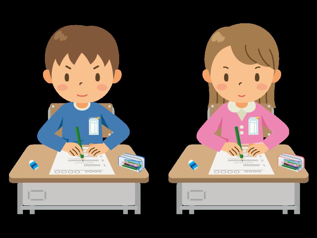 テストを受ける男の子と女の子のイラスト